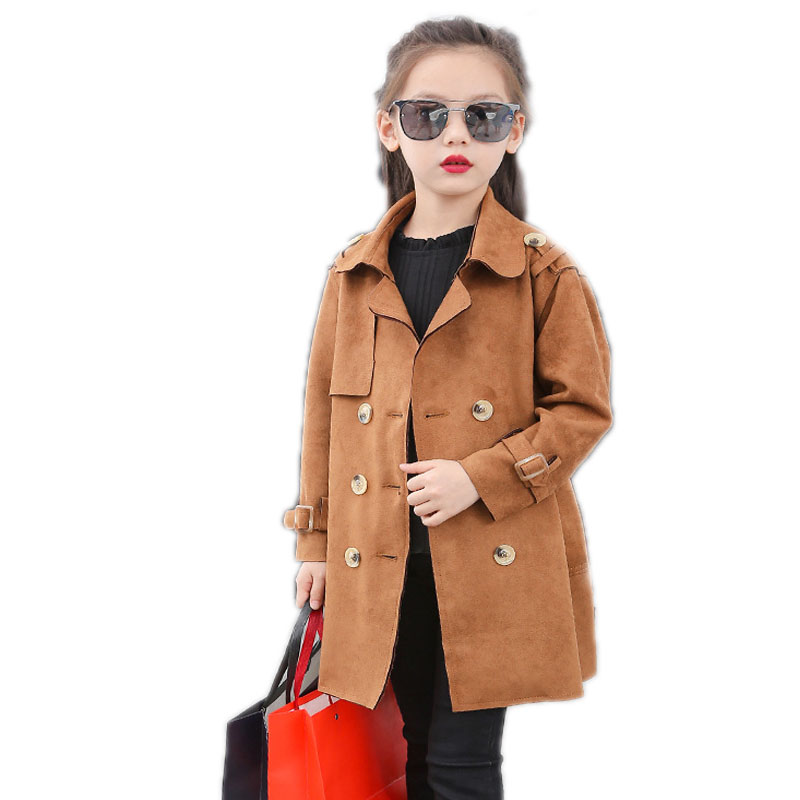 girl jackets and coats autumn winter long sleeve kids clothes double breasted girls trench jacket Suede children outwear 4 13T