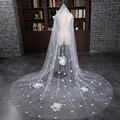 Free Shipping Long New Arrival One Layer Cut Edge White Bridal Veils Handmade Flowers Wedding Veils Bridal Accessory