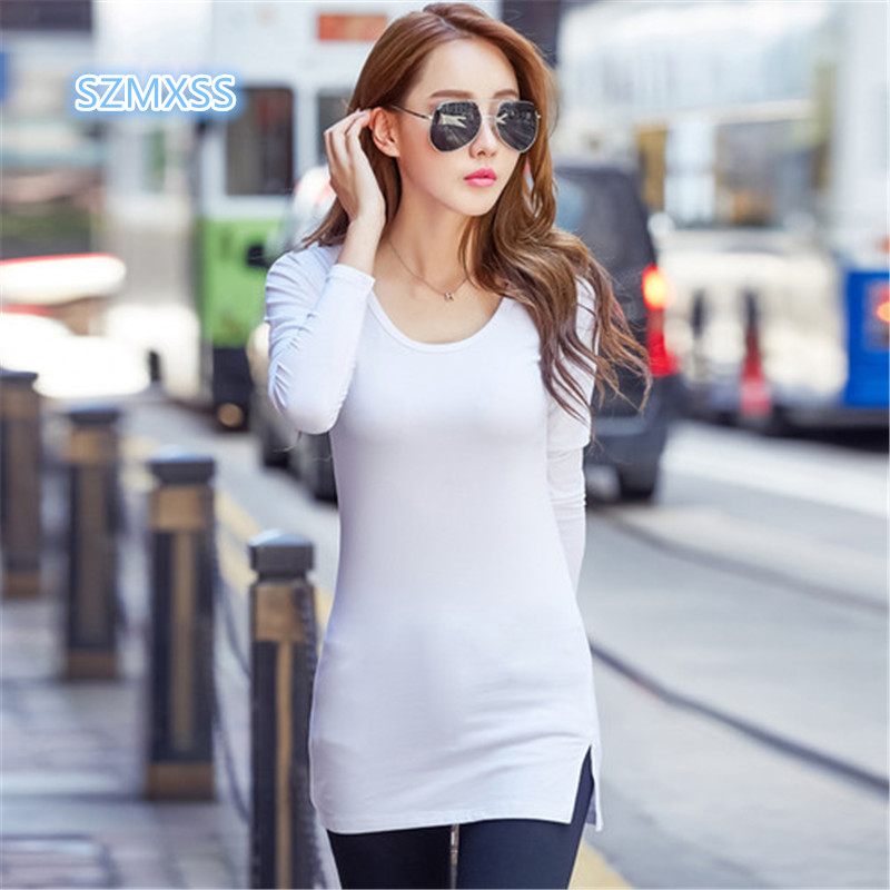 Casual Solid Color Tees Plus Size 3XL Summer Autumn T Shirt Women Long Sleeve Tunic Tops Ladies bottom Split Brief Long T-Shirts