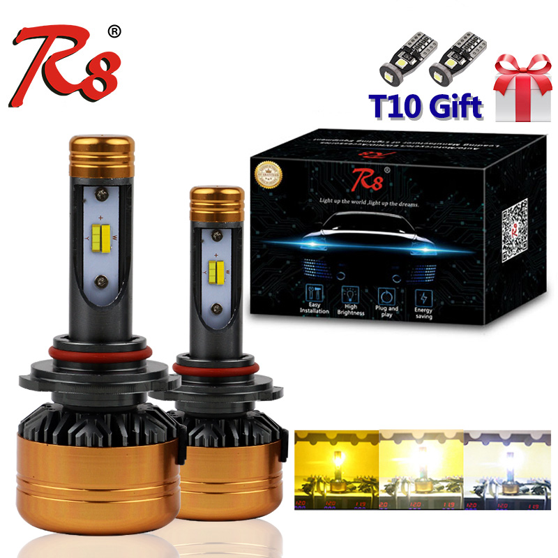 R8 Patent Three Color LED Headlight Kit Z5 H1 H7 H11 9005 9006 H4 50W 5800LM