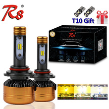 R8 Patent Three Color LED Headlight Kit Z5 H1 H7 H11 9005 9006 H4 50W 5800LM Yellow and White Dual Light 3000K 4300K