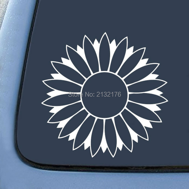 Bargain Max Flower Sunflower White Sticker Decal Notebook Car Laptop-White 5'' Die cut car stickers white