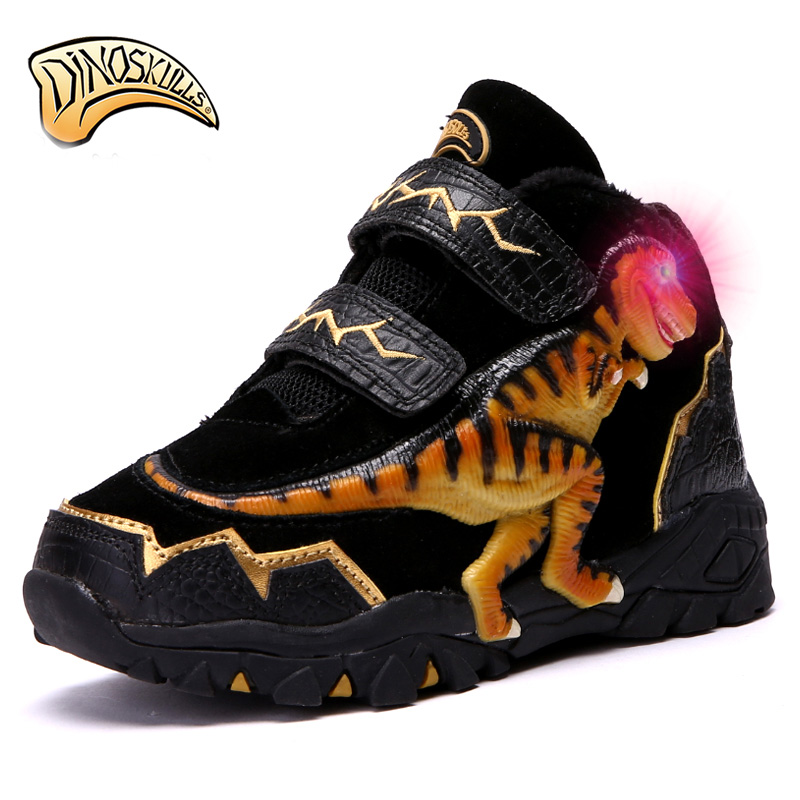Dinoskulls Boys genuine leather boots Children warm fleece fur boots kids snow boots warm footwear glowing
