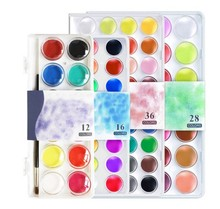 12~36 Colors Solid Watercolor Cake Outdoor Paint set Pigment Set Transparent Box Watercolor Painting Supplies with paint brush