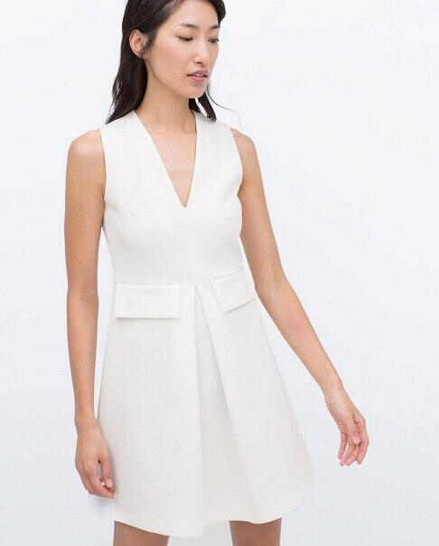2015 Summer New ZA White FITTED DRESS Sleeveless V-neck Front Pleated with Fake Pocket Slim Wasit Mini Short Robe Dress 3792/022
