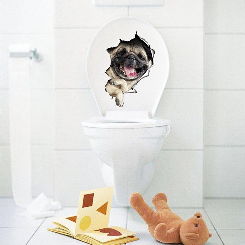 Cats Dog 3D Wall Sticker Bathroom Toilet Living Room Kitchen Decoration Animal Vinyl Art Sticker Poster 7