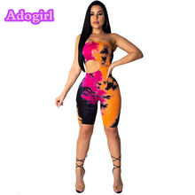 b296b010cef5 (Ship from US) Sexy Cut-Out Tie Dyeing Print Sleeveless Playsuit Women  Skinny Casual Strapless Off Shoulder Backless Night Club Wear Outfits