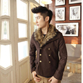men short wool 2017 fashion elegant classic fur collar double breasted woolen jacket