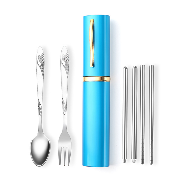 3pcs Outdoor Tableware Sanitary Stainless Steel Chopsticks Fork Spoon For Camping Hiking Travel Ultra-light Picnic Cutlery Set Campcookingsupplies