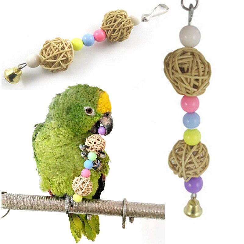 Hot multicolor beads bird toys font b pets b font parrot toys bird ladder Parakeet swing