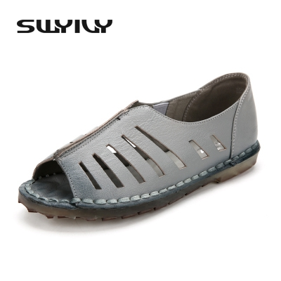 Comfortable Leather Hollow Sandals Shoes For Woman 2017 Roman Flat Heel Female Fashion Fish Toe  Summer Shoes 41 Big Size big size 33 41 genuine leather women rhinestone shoes roman sandals 2015 hollow out sexy high heel shoes sandals