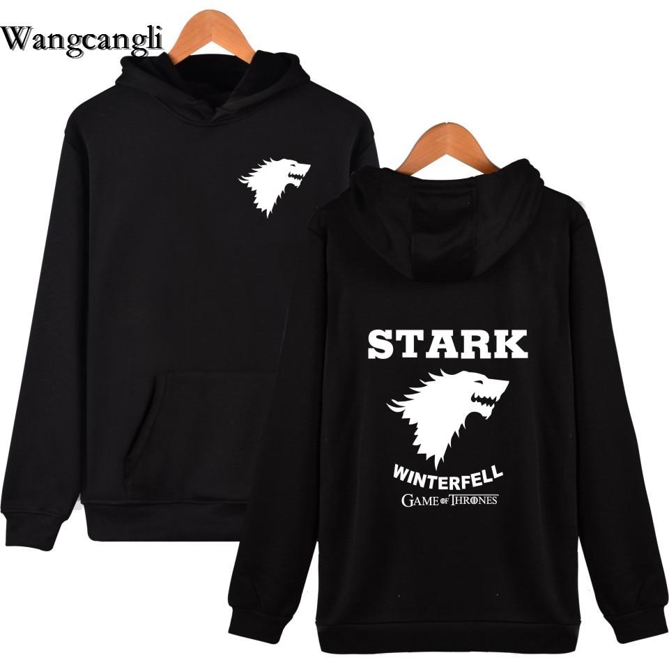 Wangcangli Game of Thrones Wolf Fashion Slim Hoodies Stark Winterfell Cotton Hip-Hop Sweats Winter Black Clothing