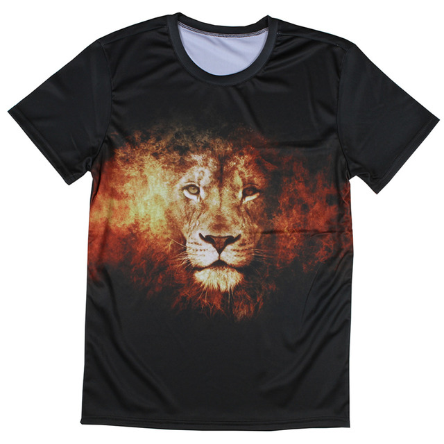 Fire Lion 3d Printing Mens Fashion Design Summer T Shirts Best Quality Mens  Polyester T shirts