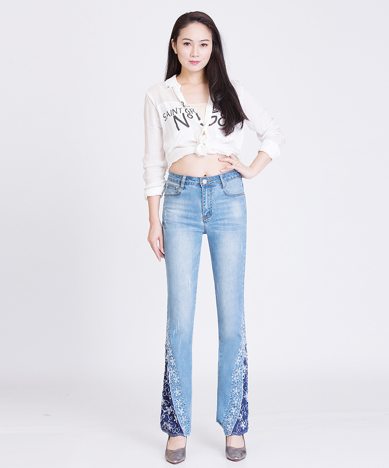 KSTUN FERZIGE New Jeans Woman Embroidered Trousers Lace Bell Bottoms Design Light Blue Stretch High Waisted Jeans Sexy Ladies Mujer 36 20