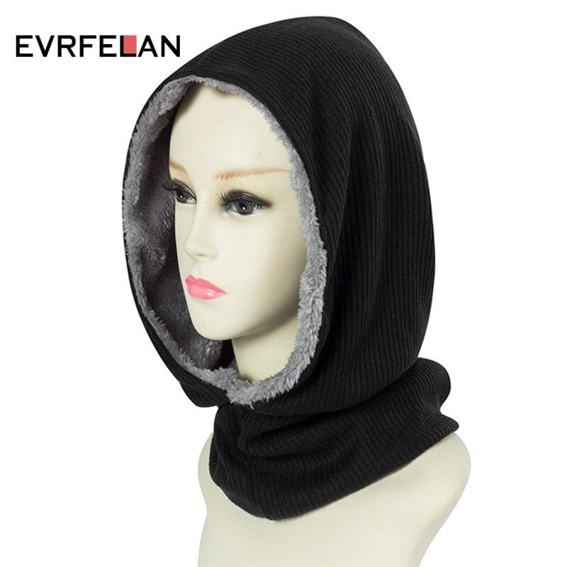 Evrfelan New Design Winter Warm Beanie Hat For Women Thick Neck Skullies Beanies Hat Solid Color Plus Velvet Brand Winter Bonnet beanie
