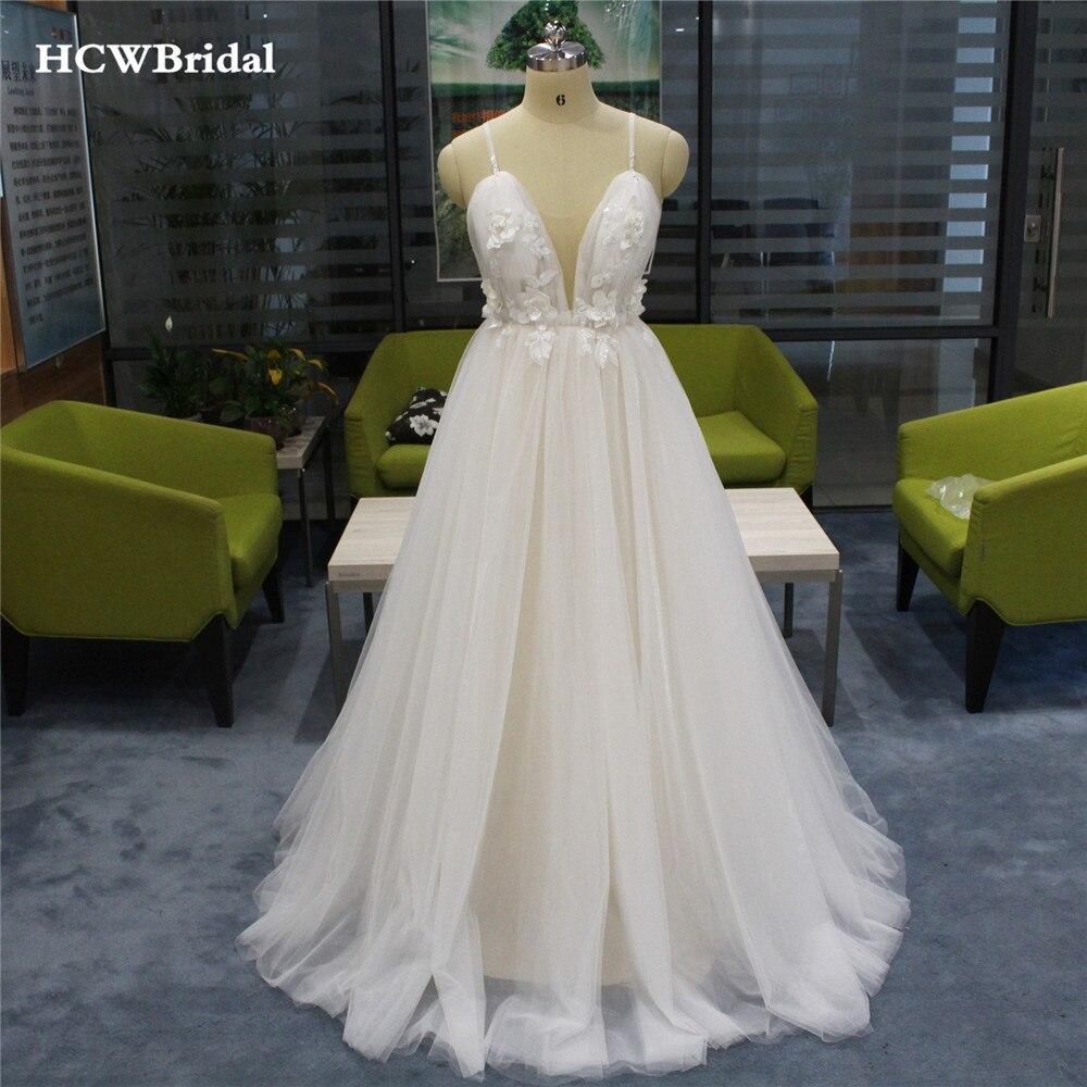 Backless Wedding Dresses 2019: Sexy Backless Wedding Dress 2019 New Sweetheart Spaghetti