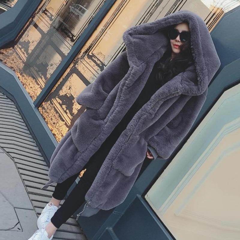 Rb Cm Naturelle Veste Long Avec Fourrure Manteau De 105 Lapin Hiver qXwUt88d