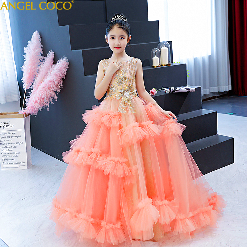 High-End Dress For Children Kids Formal Dress For Girls Clothes Flower Pageant Birthday Party Princess Gown Girl Clothes 14 YearHigh-End Dress For Children Kids Formal Dress For Girls Clothes Flower Pageant Birthday Party Princess Gown Girl Clothes 14 Year