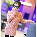 2017 new high neck long knitting girls sweater spring autumn winter turtleneck knitted children sweaters kids girls red black