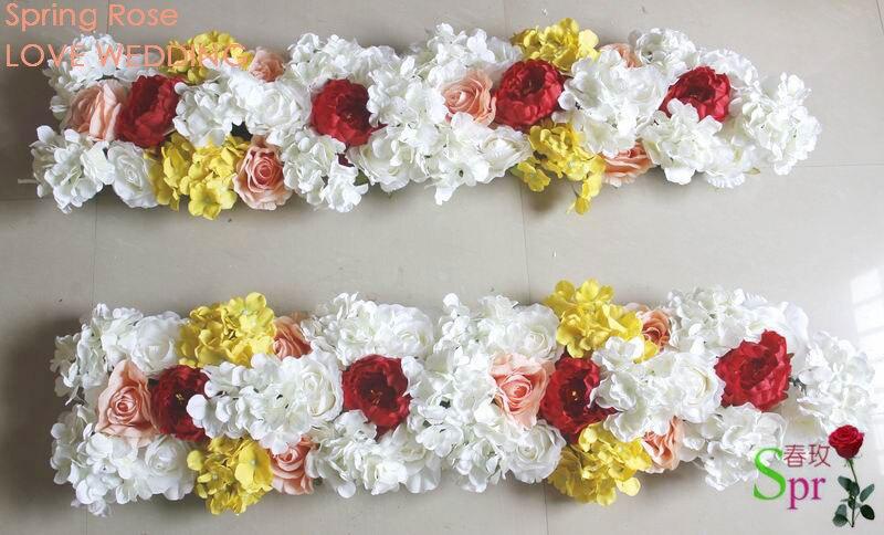 SPR 무료 배송 옐로우 레드 결혼식 이벤트 아치 꽃 테이블 주자 꽃 벽 테이블 꽃 결혼식 장식
