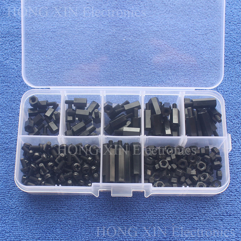 200Pcs M3 Nylon Black Hex M-F Spacers/ Screws/ Nut Assorted Kit Standoff Free shipping Male-Female spacer nylon standoff plastic 100pcs m3 nylon black standoff m3 5 6 8 10 12 15 18 20 25 30 35 40 6 male to female nylon spacer spacing screws