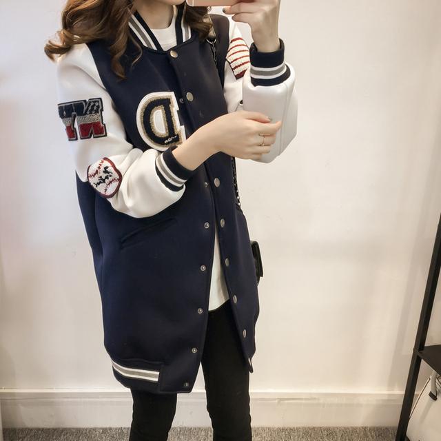 Além disso 3xl big size casacos mulheres primavera outono inverno 2017 bermuda feminina solto uniforme de beisebol fino casaco longo feminino A1649