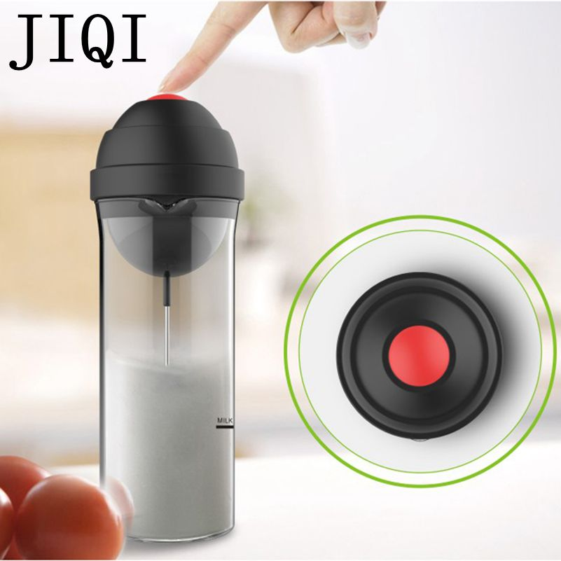 JIQI Household Electric Milk Foam bubble Maker Fancy coffee Milk Frother foamer DIY Egg Cream Mixer mini Automatic Blender Whisk кофемолка profi cook pc кsw 1021 200 вт серебристый