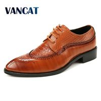 VANCAT New Designer Lace Up Leather Men Shoes Fashion Handmade Leather Breathable Men Dress Shoes