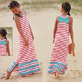 Novo 2016 verão quente New12y menina roupas, Miúdo meninas listras & Ruffles Maxi praia vestido longo Bowknot princesa Kid menina