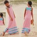 Nuevo 2016 Hot Summer New12y muchacha ropas, niñas chico rayas y Ruffles playa Maxi largo del vestido de la princesa del Bowknot de la muchacha del cabrito