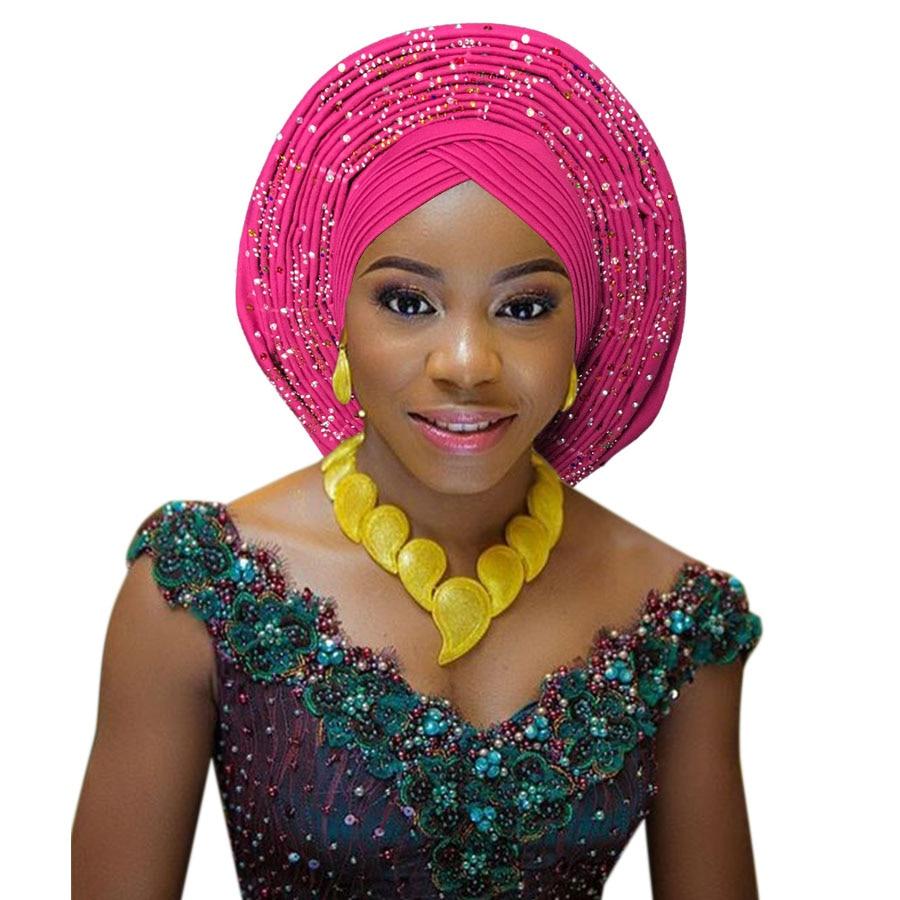 2018 New african aso oke cotton headtie nigerian gele headtie already made auto hele turban cap aso ebi big brim gele (11)