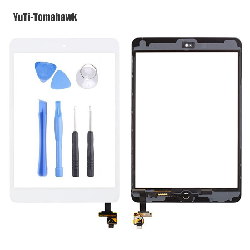 For iPad mini 1/2 mini 3 High Quality Touch Screen Digitizer Assembly with Home Button & Home Flex Cable+ IC Connector + Tools 1 pair rca male female for cctv phono rca male plug rca to 2pin spring connector cctv cat5 to camera cctv video bnc balun