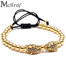 Mcllroy Brand Men Bracelets Round Beads & Leopard Head Beads Braided Macrame European American Weaving Bracelets For Men(China)