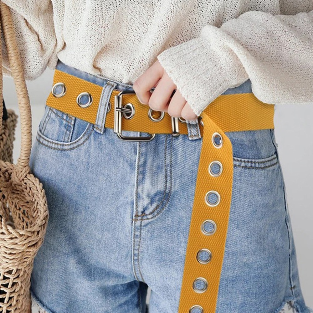 New Fashion Canvas   Belt   Hollow Out Air Hole Korean Style Decoration   Belt   Unisex