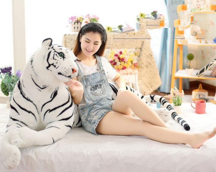 1pcs Huge 130cm  Kawaii Emulational Toy Plush Stuffed Life-Like Tiger Lying Posture Artificial Animal Brown & White Color stuffed animal 110 cm plush simulation lying tiger toy emulation yellow tiger doll great gift free shipping w400