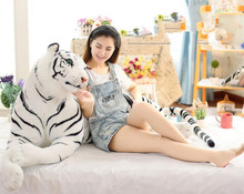 1pcs Huge 130cm  Kawaii Emulational Toy Plush Stuffed Life-Like Tiger Lying Posture Artificial Animal Brown & White Color huge 155cm lying white tiger plush toy prone tiger doll throw pillow birthday gift t8875