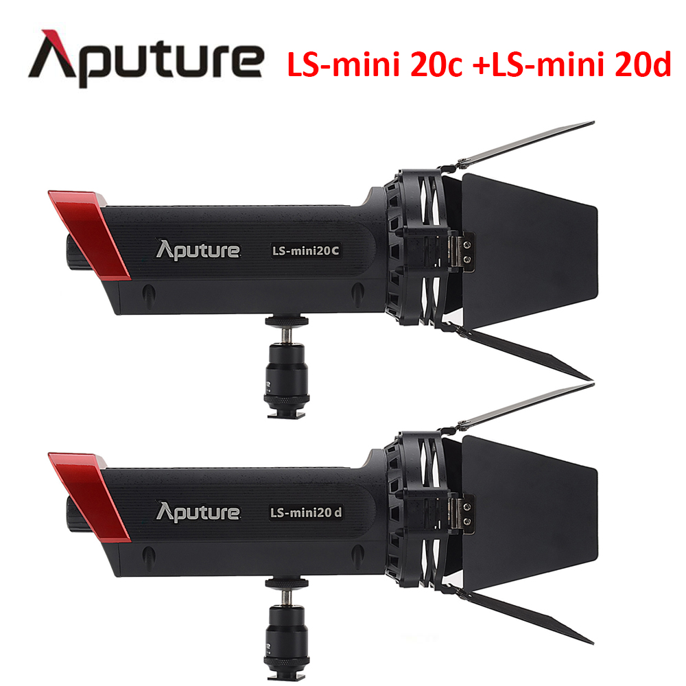 Aputure LS mini 20c + LS mini 20d fill light CRI 97 COB light Color Temperature 3200K-6500K fresnel led film light aputure ls mini 20 3 light kit two mini 20d and one mini 20c led fresnel light tlci cri 96 40000lux 0 5m 3 light stand case
