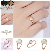 Quinby Luxury Fire Opal Rings For Women Dainty Wedding Engagement Ring Rose Gold Bridal Promise Stone Ring Girl Gift Jewelry Q5 junxin luxury round blue fire opal ring vintage flower leaf engagement wedding rings for women unique black gold filled jewelry
