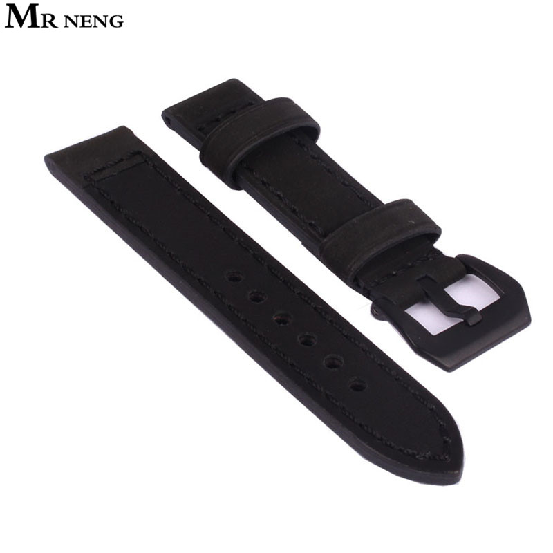 MR NENG Genuine Leather Watchband Bracelet 26mm 24mm 22mm 20mm Thick Watch Strap Belt Metal Steel Buckle Clasp Accessories Strap zlimsn genuine leather watchband bracelet 24mm 22mm 20mm thick watch strap belt with clasp wristwatch accessories band