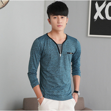 HAO HE SHEN Spring and autumn V collar Mens Long Sleeve  casual shirt color thin autumn clothing tX blood dress with