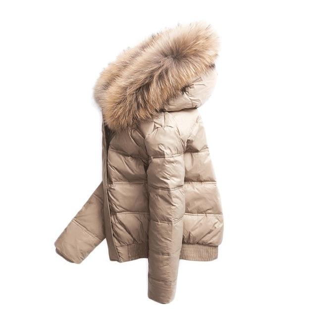 Winter   Coat   Women Short   Down     Coat   Fur Collar Detachable Warm Outerwear   Down   Jacket Hooded Zipper Black Khaki C80605