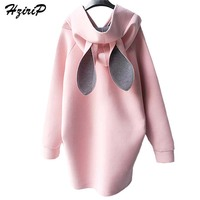 HziriP 2017 New Autumn Winter Pregnant Women Dress Rabbit Ears Hooded Sweater Casual Pregnant Loose Maternity