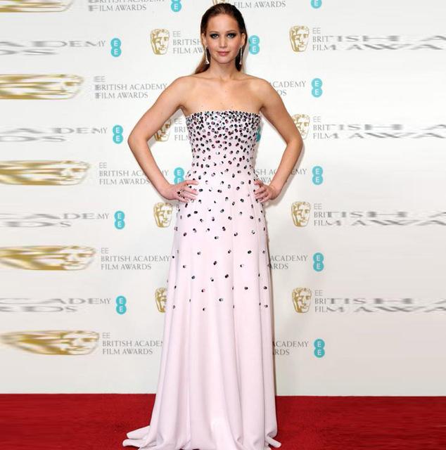 Vestidos Festa párrafo Jennifer Lawrence Red Carpet Celebrity Dresses strass Pink lujo vestido de noche largo de baile vestido