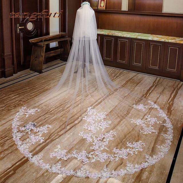 8afde0d14 Pink Appliques Bridal Veils Cathedral Wedding Veil With Comb Arrangement  Tulle 3 Meters Long Bridal Veil