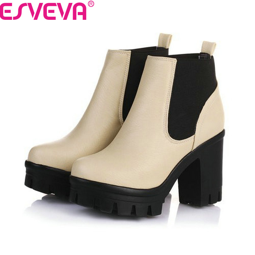 ФОТО ESVEVA New Arrival Fashion Thick High Heels Boots Women Platform Slip On Hot Sale Motorcycle Mixed Color Winter Snow Shoes Black