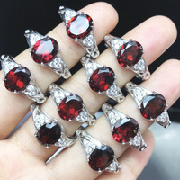 Opulent Red Garnet Rings, Sterling Silver 925 Ring GENUINE GEMSTONE 7*9MM Oval Cut Natural Stone Finger Ring, Size Free Band