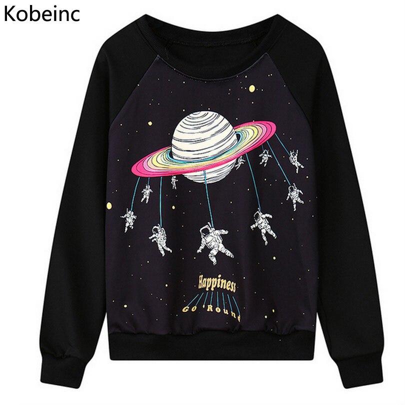 Funny Astronaut Cartoon Printing Sweatshirt Casual Long Sleeve Round Neck Women Sweatshirts Loose Sudadera 2016 Autumn