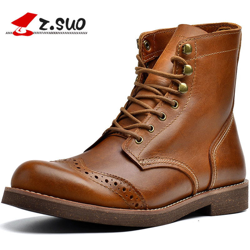 Brand Top Quality Brogue Boots Men Cow Leather Ankle Boots Autumn European American Style Handmade Retro