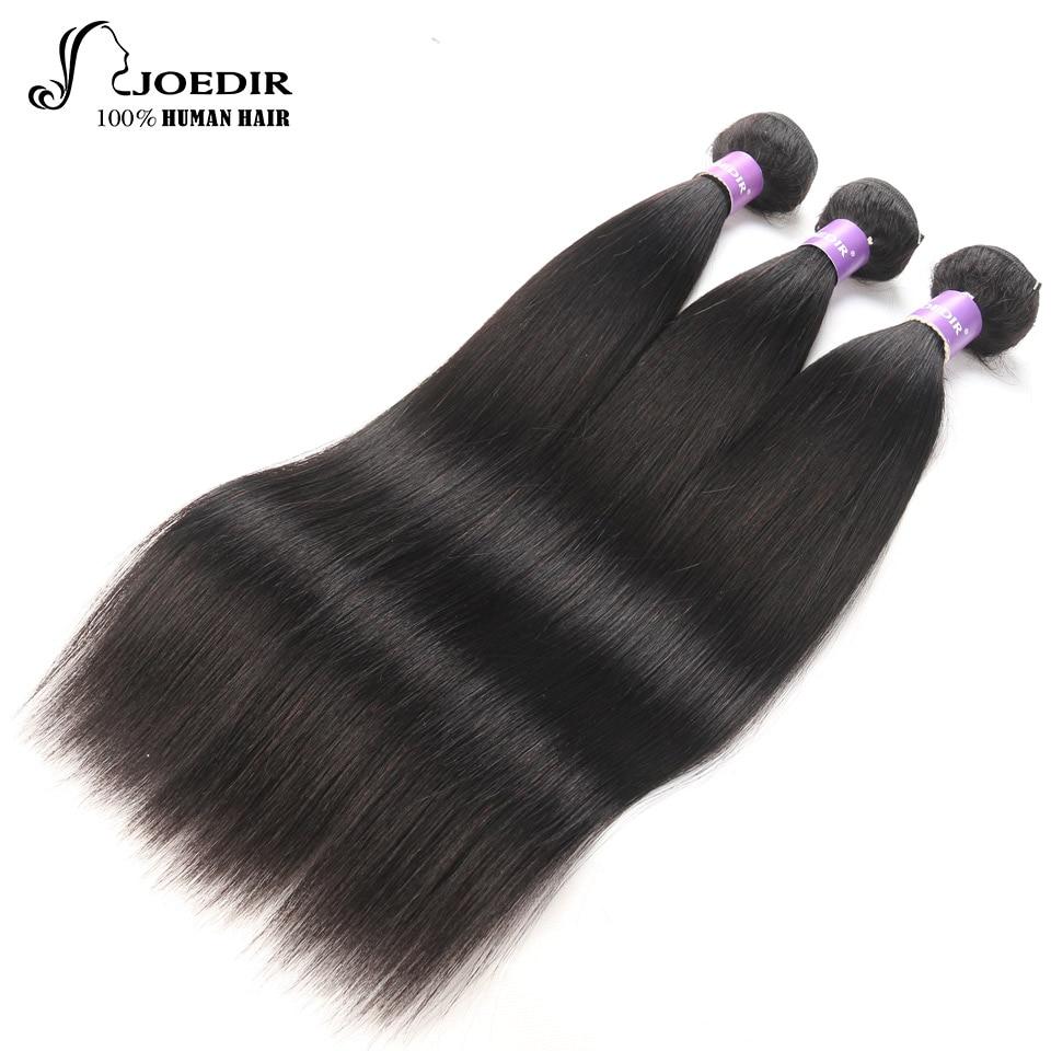 Joedir Hair Pre-colored Peruvian Straight Hair 3 Bundles Hair Weave 100% Human Hair Extensions for Women Can be Dyed