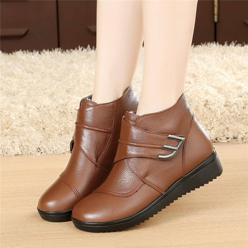 Pure Wool Girls Boots Real Leather-based Flat Ankle Boots Winter Heat Girls Footwear Girl Snow Boots Plus Measurement Ankle Boots, Low-cost Ankle Boots, Pure Wool Girls Boots Real Leather-based...
